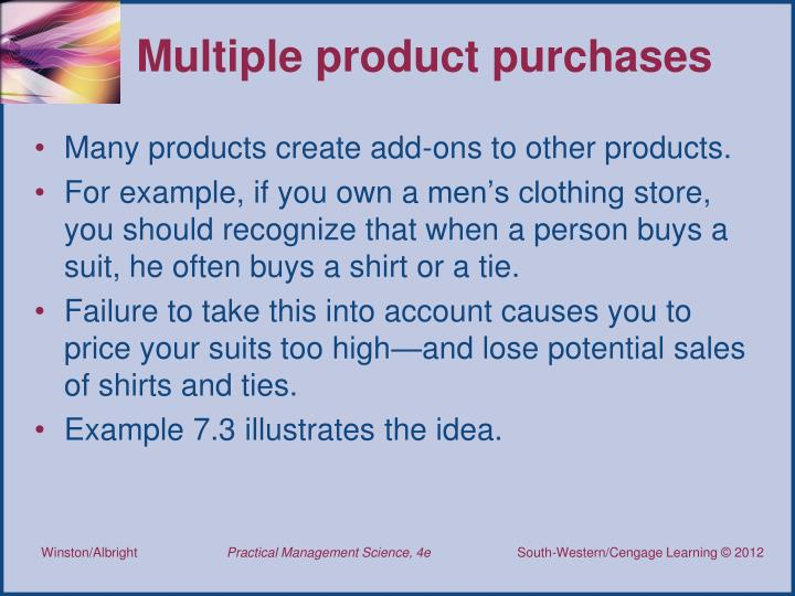 Multiple product purchases