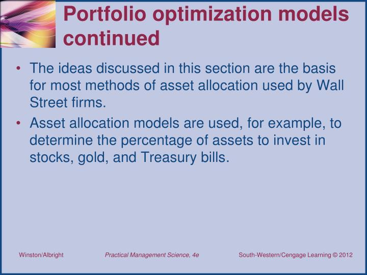 Portfolio optimization models continued