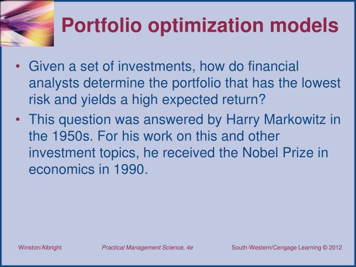 Portfolio optimization models