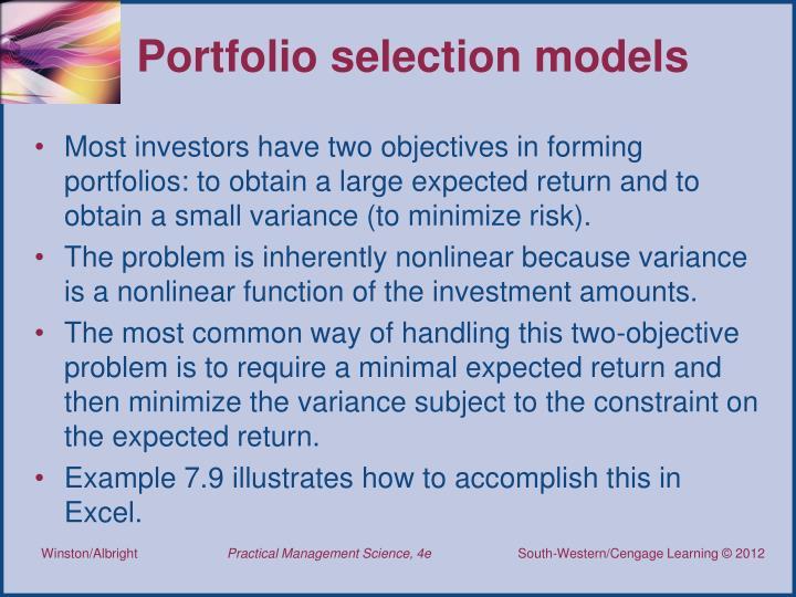 Portfolio selection models