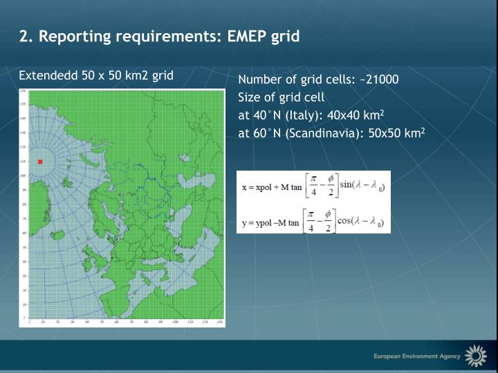 2. Reporting requirements: EMEP grid
