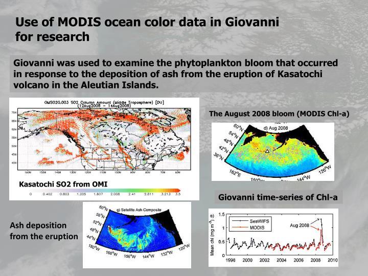 Use of MODIS ocean color data in Giovanni