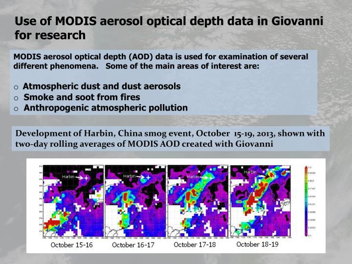 Use of MODIS aerosol optical depth data in Giovanni