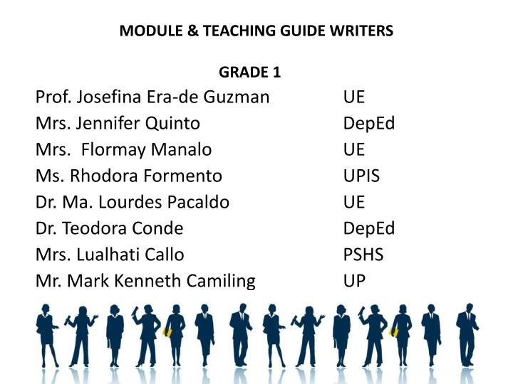 MODULE & TEACHING GUIDE WRITERS