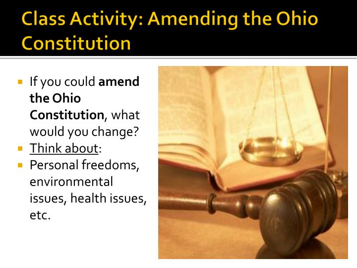 Class Activity: Amending the Ohio Constitution