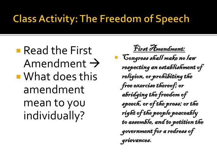 Class Activity: The Freedom of Speech