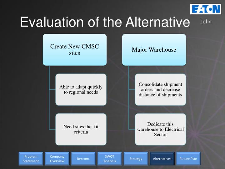 Evaluation of the Alternative
