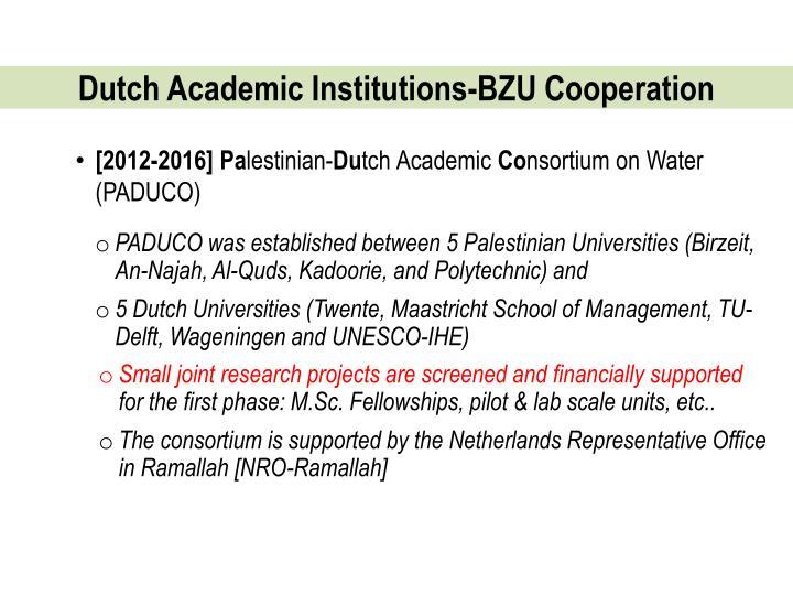 Dutch Academic Institutions-BZU Cooperation