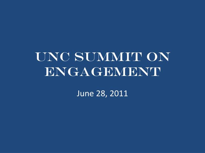 unc summit on engagement n.