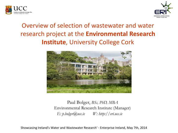 Overview of selection of wastewater and water