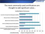 the most commonly used certifications are thought to add significant value