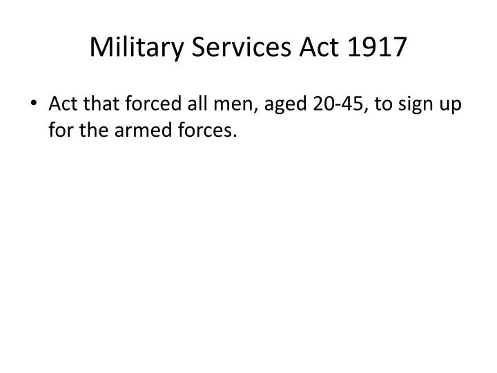 Military Services Act 1917
