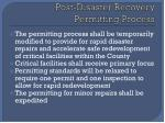 post disaster recovery permitting process