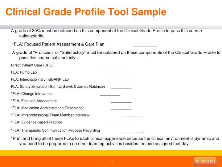 Clinical Grade Profile Tool