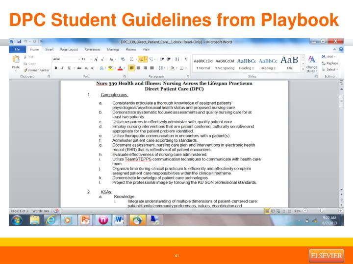 DPC Student Guidelines from Playbook