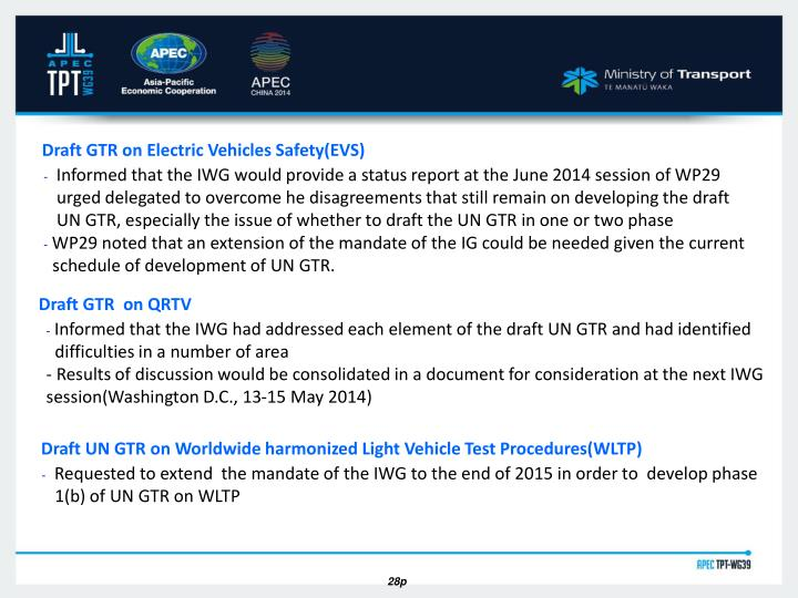 Draft GTR on Electric Vehicles Safety(EVS)