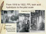 from 1916 to 1922 fpl took acid hydrolysis to the pilot scale