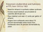 kressmann studied dilute acid hydrolysis at fpl from 1910 to 1922