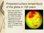 projected surface temperature of the globe in 150 years
