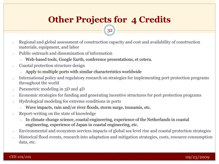 Other Projects for  4 Credits
