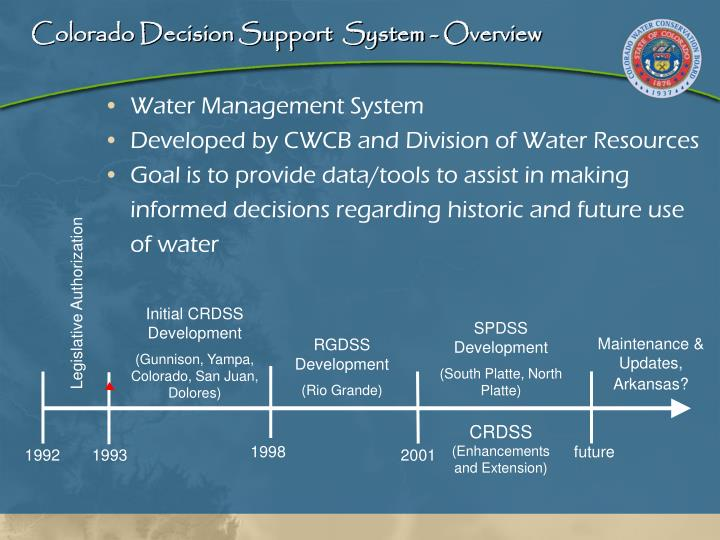 Colorado decision support system overview