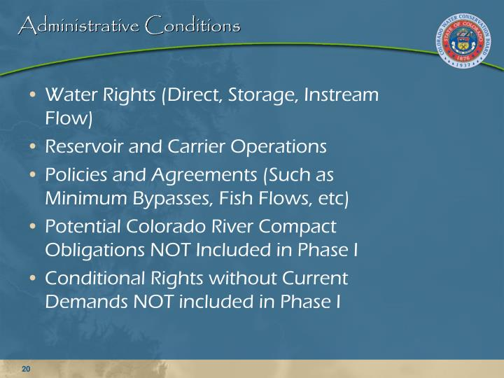 Administrative Conditions