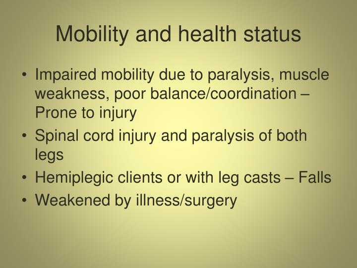 Mobility and health status