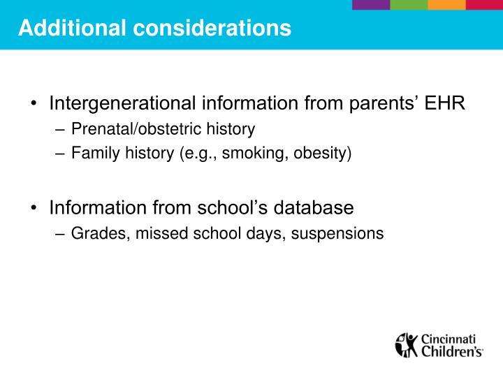 Intergenerational information from parents' EHR