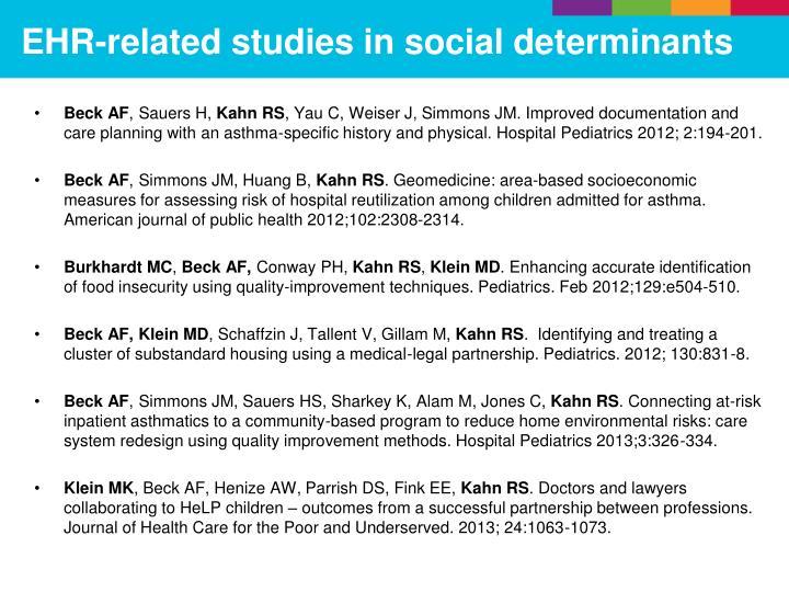 EHR-related studies in social determinants