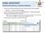 eh s assistant chemical inventory inventory reports