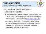 eh s assistant chemical inventory osha regulations