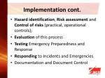 implementation cont