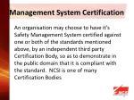 management system certification
