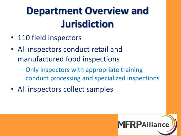 Department Overview and Jurisdiction