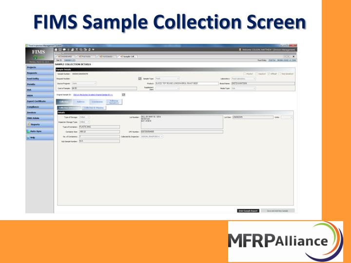 FIMS Sample Collection Screen