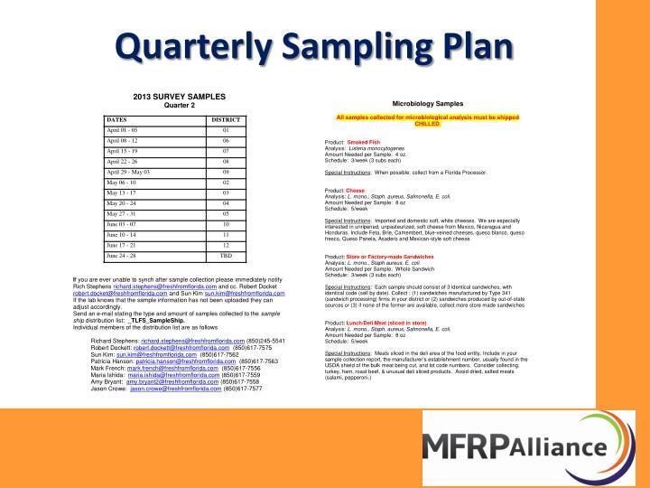 Quarterly Sampling Plan
