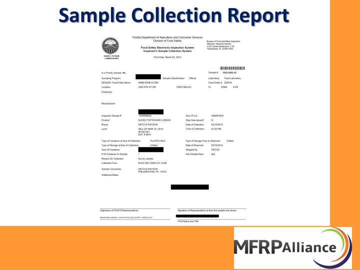 Sample Collection Report