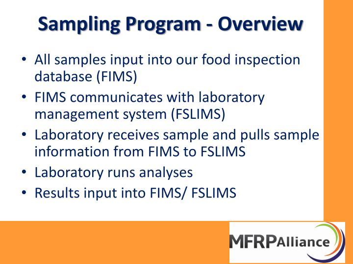 Sampling Program - Overview
