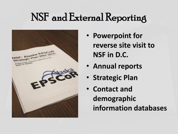 NSF  and External Reporting