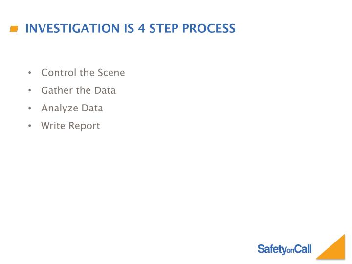 Investigation is 4 step process