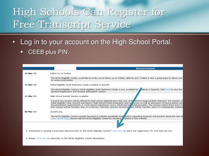 High Schools Can Register for