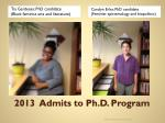 2013 admits to ph d program