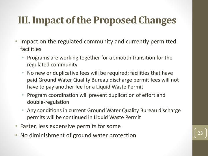 III. Impact of the Proposed