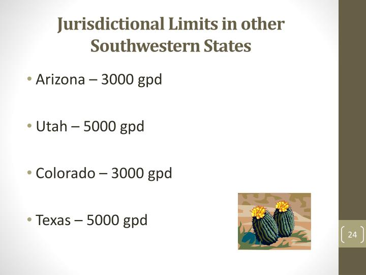 Jurisdictional Limits in other Southwestern States