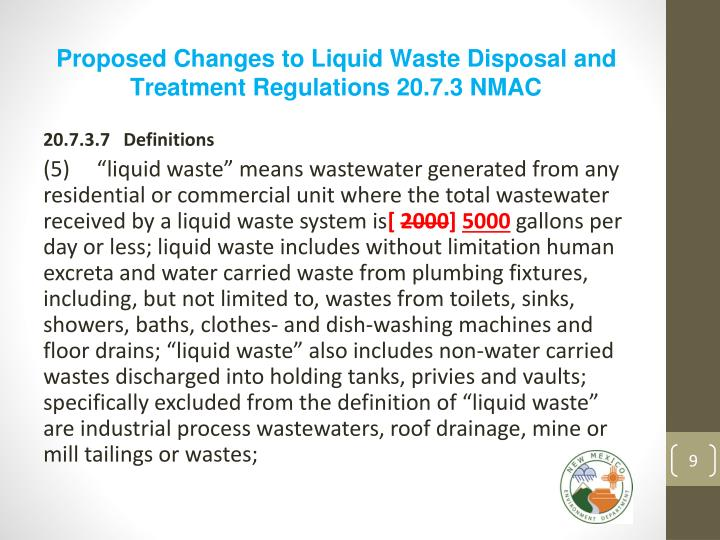 Proposed Changes to Liquid Waste Disposal and Treatment Regulations 20.7.3 NMAC