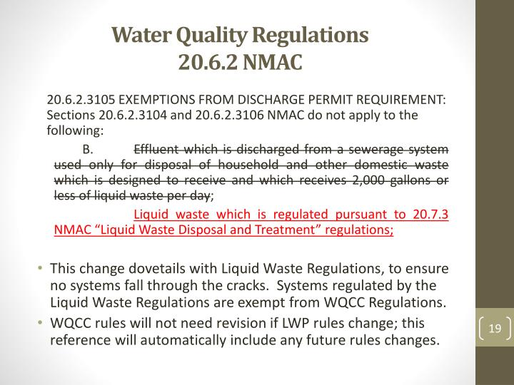Water Quality Regulations