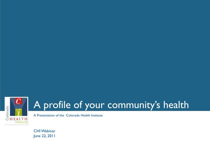 a profile of your community s health n.
