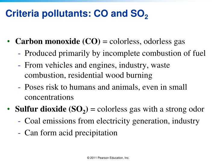 Criteria pollutants: CO and SO