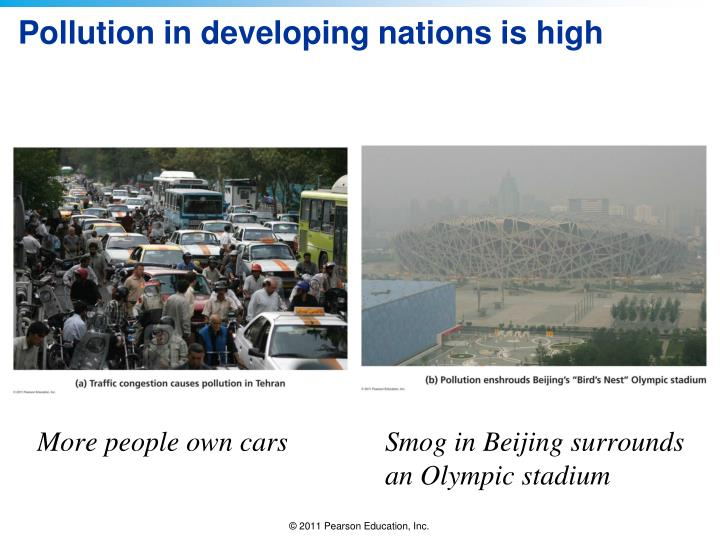 Pollution in developing nations is high