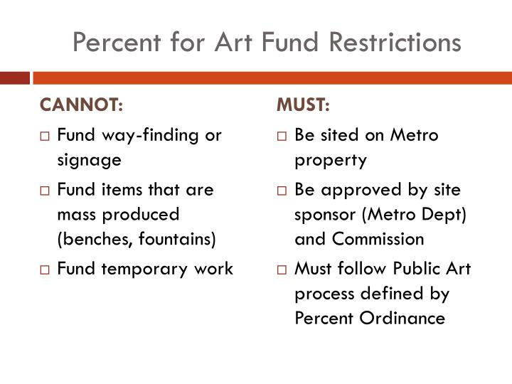 Percent for art fund restrictions